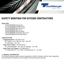 Safety briefing for outside contractors