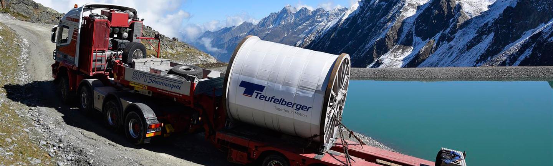 Seiltransport für die 3S Eisgratbahn auf den Stubaier Gletscher